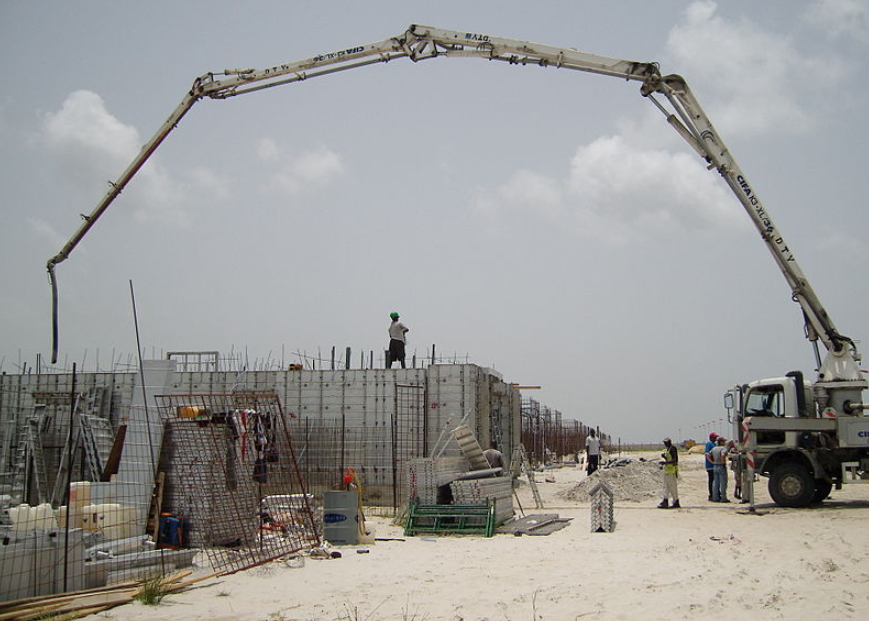 this image shows anytime concrete pumping at work